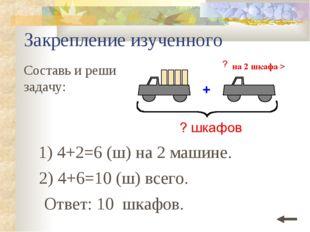 Закрепление изученного Составь и реши задачу: 1) 4+2=6 (ш) на 2 машине. Ответ
