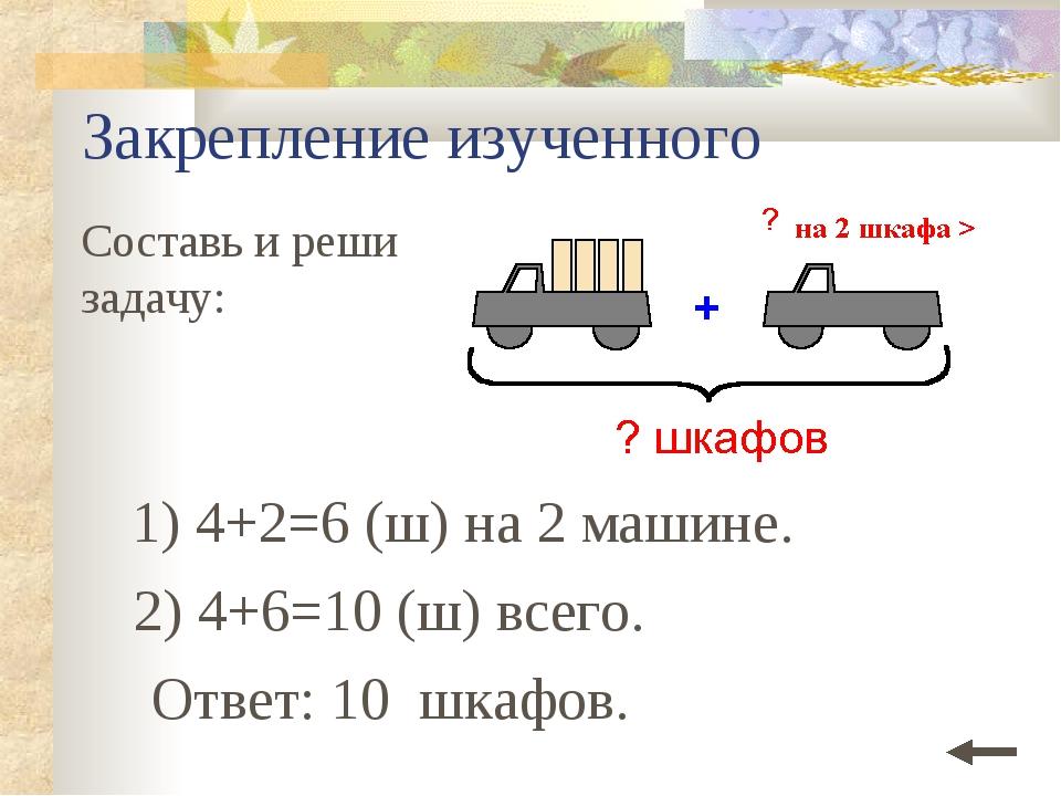 Закрепление изученного Составь и реши задачу: 1) 4+2=6 (ш) на 2 машине. Ответ...