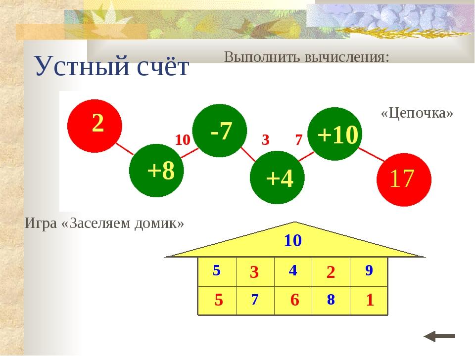 Устный счёт Выполнить вычисления: Игра «Заселяем домик» «Цепочка» 10 3 7 5 3...