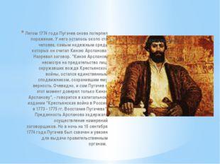 Летом 1774 года Пугачев снова потерпел поражение. У него осталось около ста ч