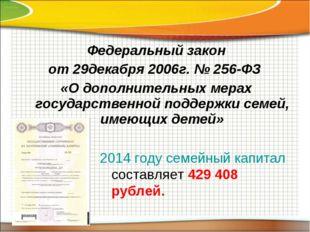 Федеральный закон от 29декабря 2006г. № 256-ФЗ «О дополнительных мерах госуда