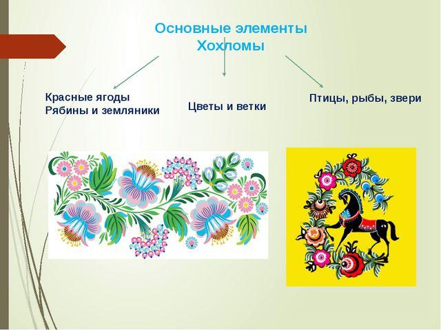 Основные элементы Хохломы Красные ягоды Рябины и земляники Цветы и ветки Птиц...