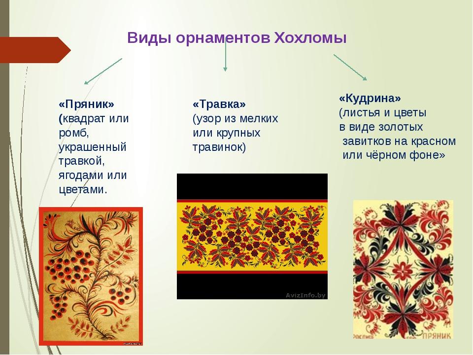 Виды орнаментов Хохломы «Пряник» (квадрат или ромб, украшенный травкой, ягода...