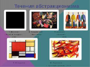 Течения абстракционизма К.Малевич В.Кандинский К.малевич «Чёрный квадрат» «Ма