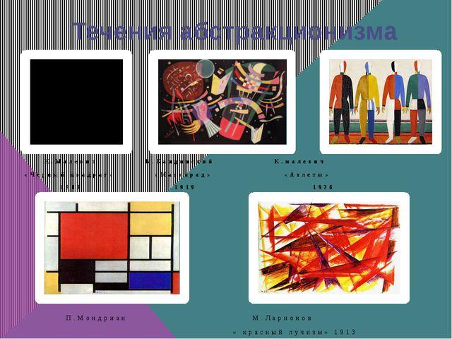 Течения абстракционизма К.Малевич В.Кандинский К.малевич «Чёрный квадрат» «Ма...