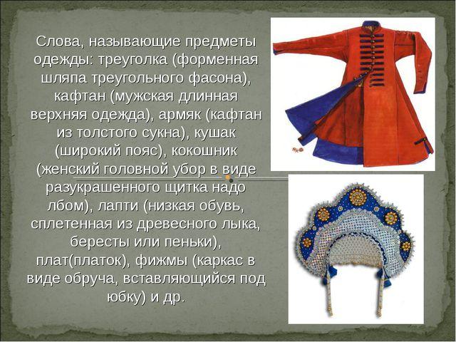 Слова, называющие предметы одежды: треуголка (форменная шляпа треугольного фа...
