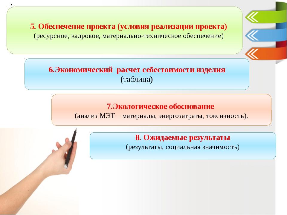 5. Обеспечение проекта (условия реализации проекта) (ресурсное, кадровое, ма...