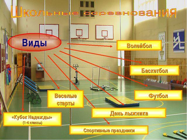 Виды Волейбол Баскетбол Футбол День лыжника Веселые старты Спортивные праздни...