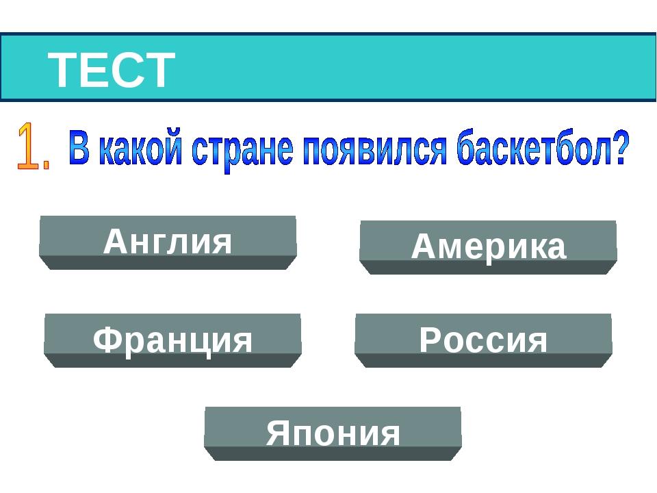 ТЕСТ Англия Америка Франция Россия Япония