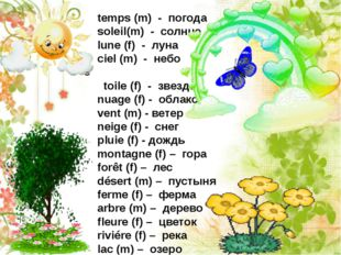 temps (m) - погода soleil(m) - солнце lune (f) - луна ciel (m) - небо toile (