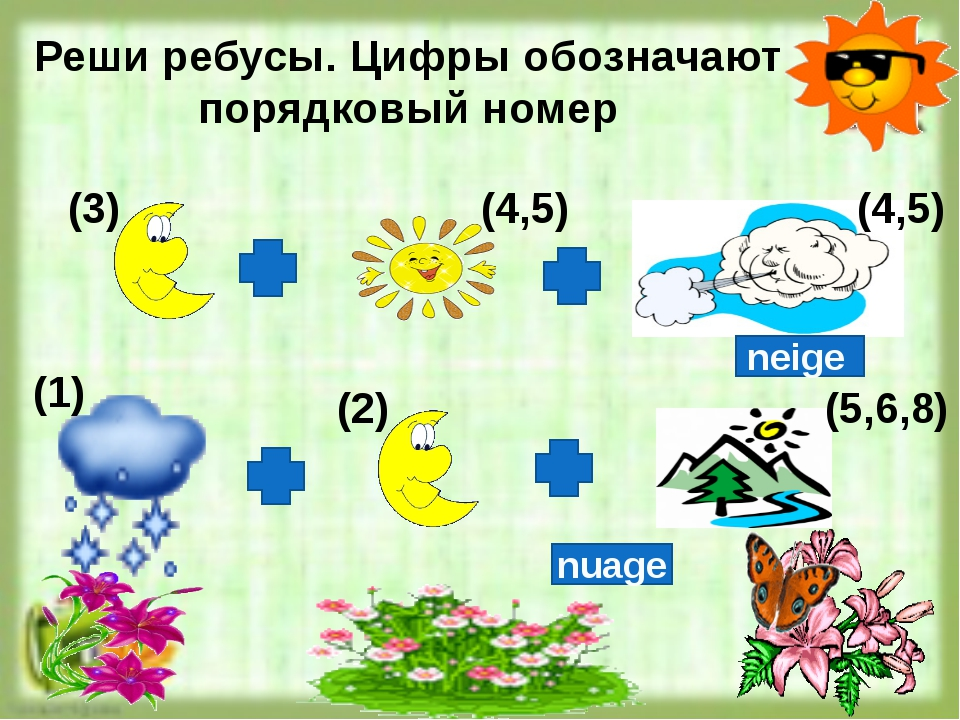 Реши ребусы. Цифры обозначают порядковый номер (3) (4,5) (4,5) (1) (2) (5,6,...