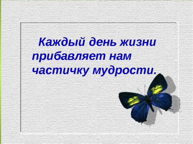 Каждый день жизни прибавляет нам частичку мудрости.
