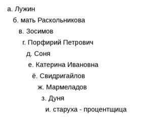 а. Лужин б. мать Раскольникова в. Зосимов г. Порфирий Петрович д. Соня е. Ка