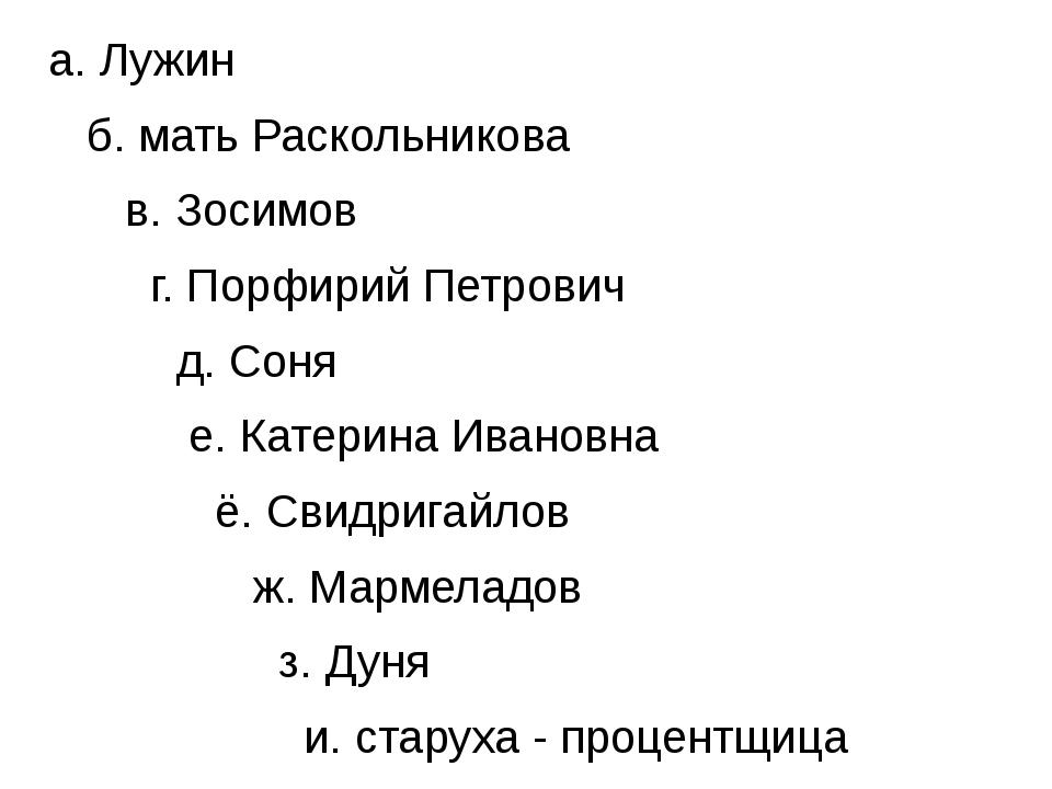 а. Лужин б. мать Раскольникова в. Зосимов г. Порфирий Петрович д. Соня е. Ка...