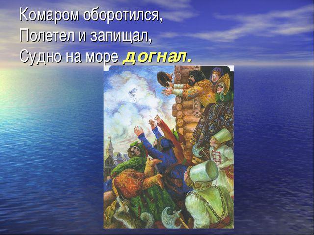 Комаром оборотился, Полетел и запищал, Судно на море догнал.