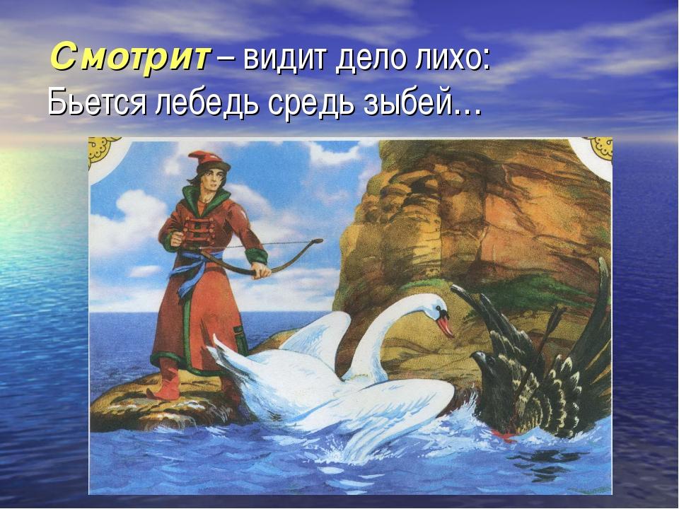 Смотрит – видит дело лихо: Бьется лебедь средь зыбей…