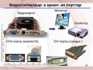 * Видеосигналдарға арналған порттар VGA порты (аналогтік) DVI порты (сандық)