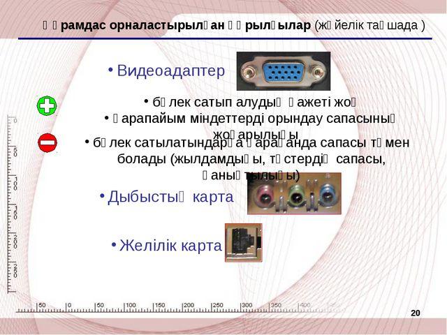 * Құрамдас орналастырылған құрылғылар (жүйелік тақшада ) Видеоадаптер Дыбысты...