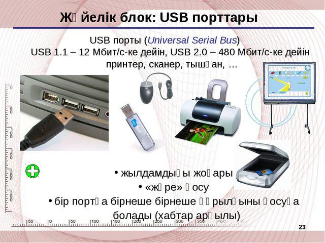 * Жүйелік блок: USB порттары USB порты (Universal Serial Bus) USB 1.1 – 12 Мб...