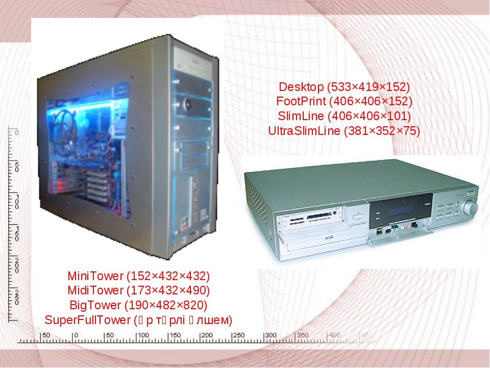 Desktop (533×419×152) FootPrint (406×406×152) SlimLine (406×406×101) UltraSl...