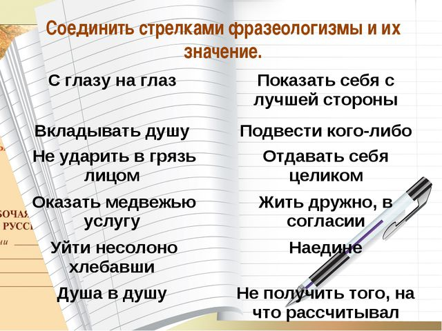 * О_А Соединить стрелками фразеологизмы и их значение.  С глазу на глаз Пок...