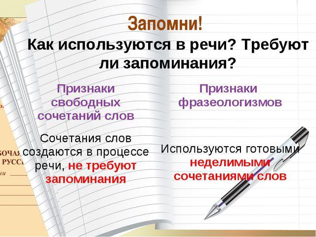 * О_А Запомни! Как используются в речи? Требуют ли запоминания? Признаки своб...