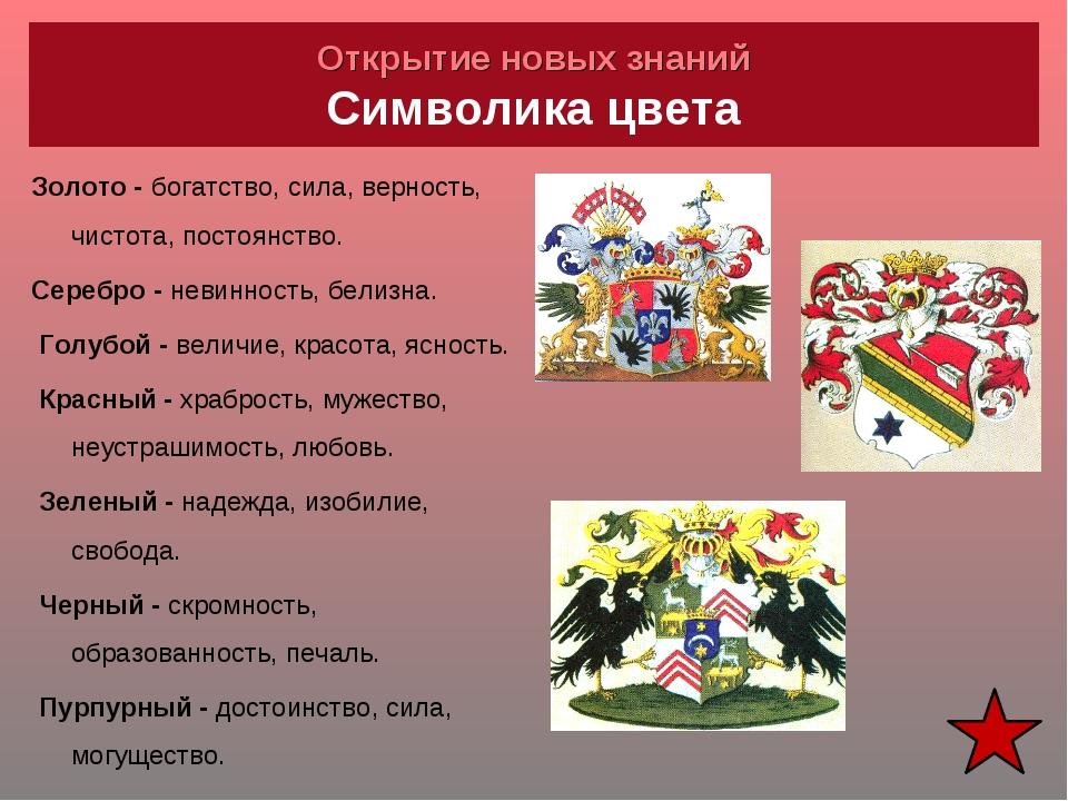 Открытие новых знаний Символика цвета Золото - богатство, сила, верность, чис...