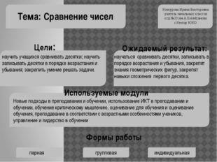 Тема: Сравнение чисел Кочкурова Ирина Викторовна учитель начальных классов о