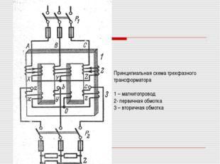Принципиальная схема трехфазного трансформатора 1 – магнитопровод 2- первична