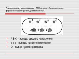 Для подключения трансформатора к ЛЭП на крышке бака есть выводы- фарфоровые и