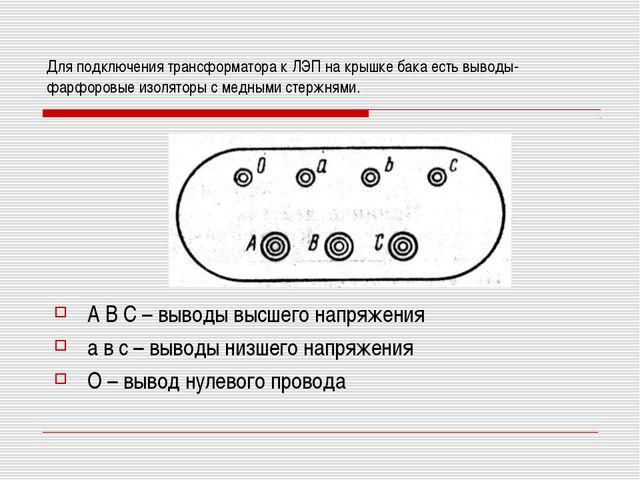 Для подключения трансформатора к ЛЭП на крышке бака есть выводы- фарфоровые и...