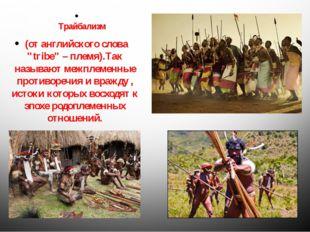 """Трайбализм (от английского слова """"tribe"""" – племя).Так называют межплеменные"""