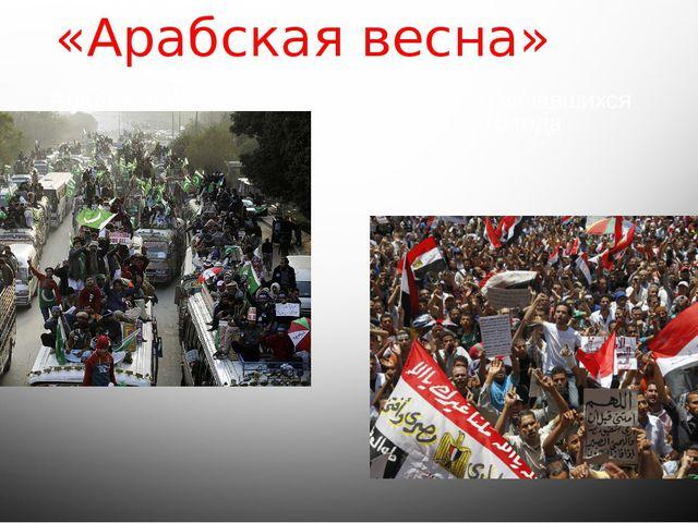 «Арабская весна» Арабская весна- волна демонстраций, начавшихся варабском м...