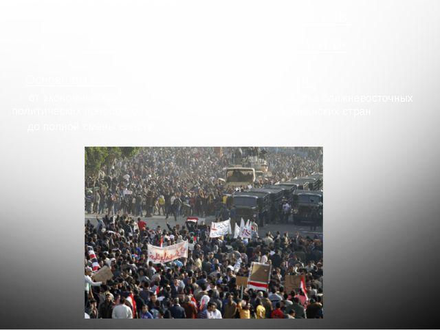 Основной лозунг демонстрантов «Народ хочет падения режима» Основная цель: от...