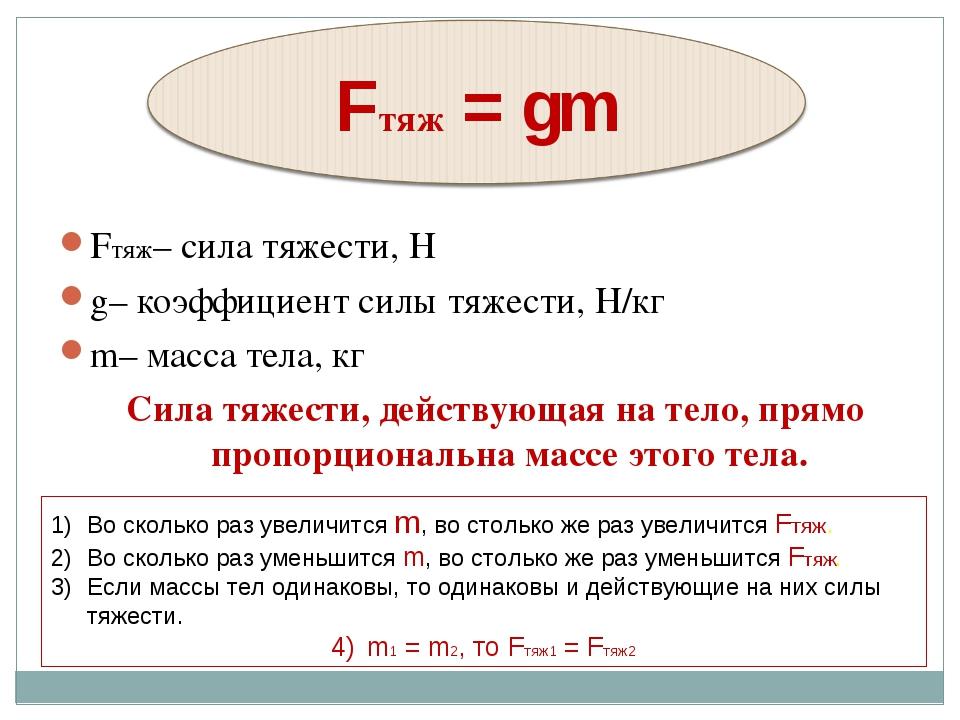 Fтяж– сила тяжести, Н g– коэффициент силы тяжести, Н/кг m– масса тела, кг...