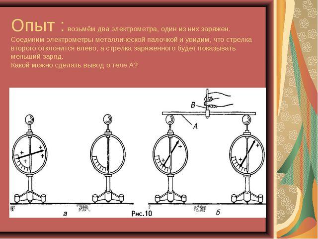 Опыт : возьмём два электрометра, один из них заряжен. Соединим электрометры м...