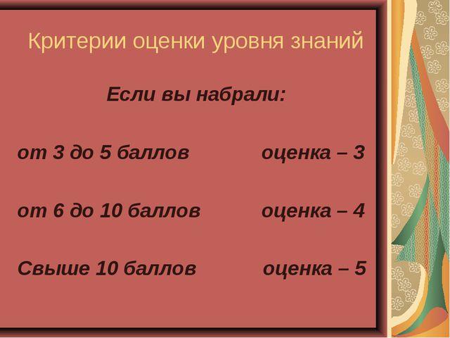Критерии оценки уровня знаний Если вы набрали: от 3 до 5 баллов оценка – 3 о...