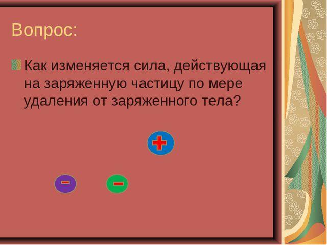 Вопрос: Как изменяется сила, действующая на заряженную частицу по мере удален...