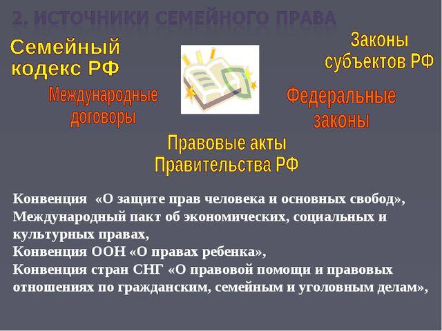 Конвенция «О защите прав человека и основных свобод», Международный пакт об э...