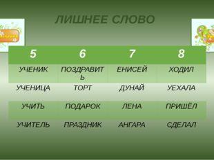 B ЛИШНЕЕ СЛОВО УМНИЦА 2014 5 6 7 8 УЧЕНИК ПОЗДРАВИТЬ ЕНИСЕЙ ХОДИЛ УЧЕНИЦА ТОР