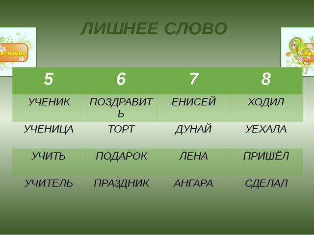 B ЛИШНЕЕ СЛОВО УМНИЦА 2014 5 6 7 8 УЧЕНИК ПОЗДРАВИТЬ ЕНИСЕЙ ХОДИЛ УЧЕНИЦА ТОР...
