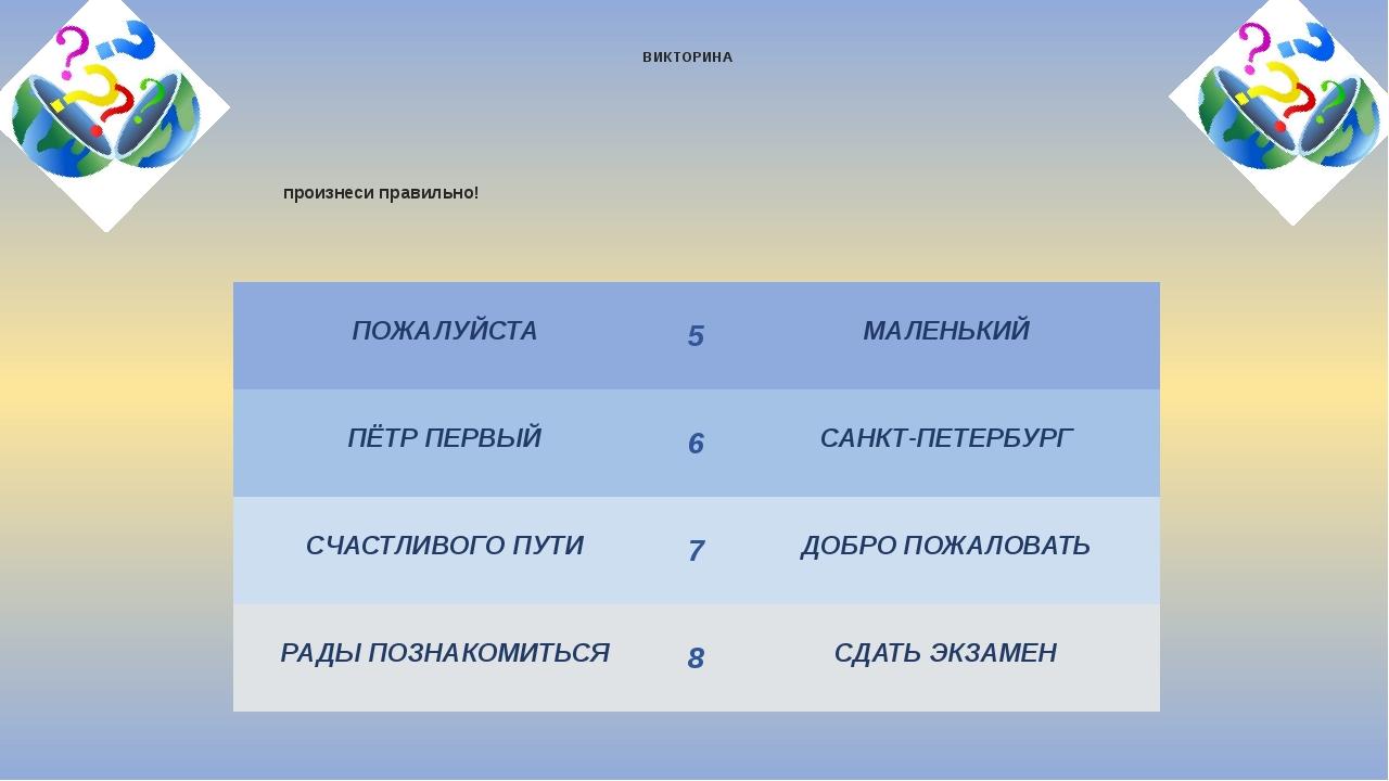 произнеси правильно! ВИКТОРИНА УМНИЦА 2014 ПОЖАЛУЙСТА 5 МАЛЕНЬКИЙ ПЁТР ПЕРВЫЙ...