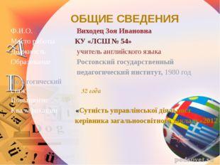 ОБЩИЕ СВЕДЕНИЯ Ф.И.О. Виходец Зоя Ивановна Место работы КУ «ЛСШ № 54» Должнос