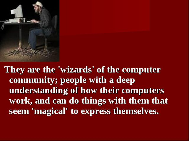 They are the 'wizards' of the computer community; people with a deep underst...