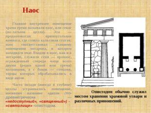 Наос Опистодом обычно служил местом хранения храмовой утвари и различных прин