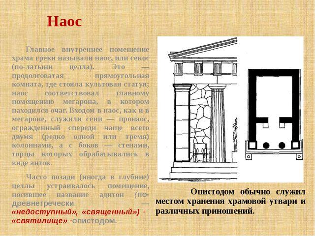 Наос Опистодом обычно служил местом хранения храмовой утвари и различных прин...