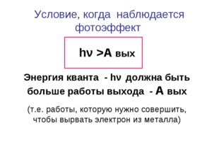 Условие, когда наблюдается фотоэффект hν >А вых Энергия кванта - hν должна бы