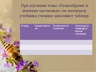 При изучении темы «Разнообразие и значение насекомых» по материалу учебника у