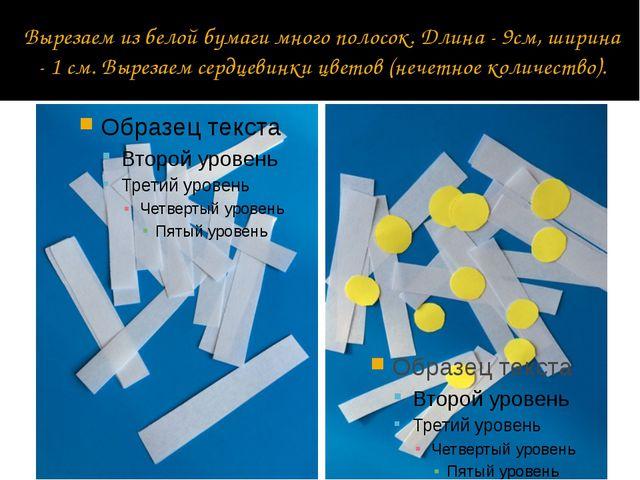 Вырезаем из белой бумаги много полосок. Длина - 9см, ширина - 1 см. Вырезаем...