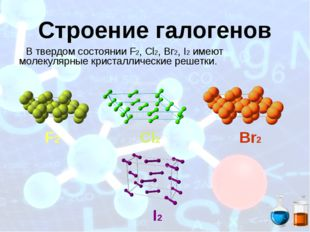 Строение галогенов В твердом состоянии F2, Сl2, Вг2, I2 имеют молекулярные кр